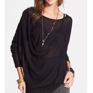 FREE PEOPLE / WE THE FREE / BLACK DRAPED TOP
